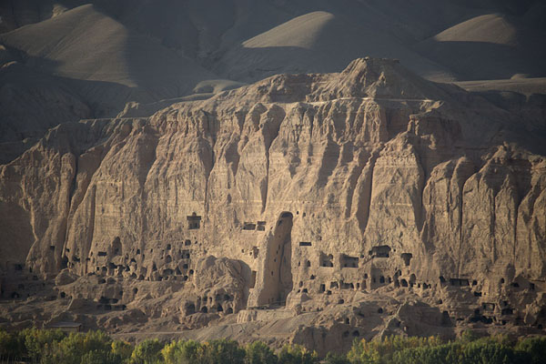 The east side of the rockface with the niche of the Small Buddha | Bamiyan Buddhas | Afghanistan