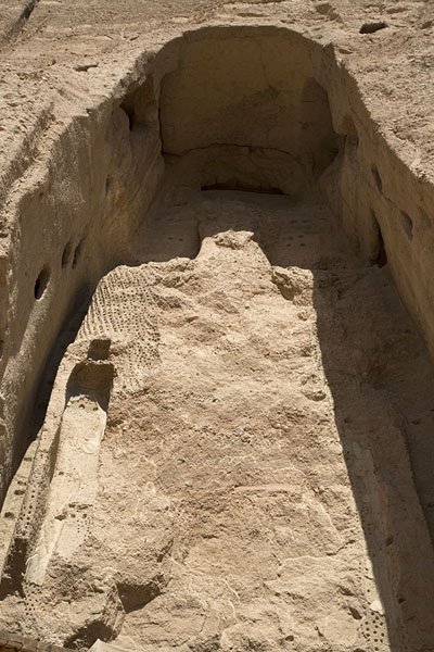 Picture of The upper part of the Small Buddha, almost completely destroyed by the TalibanBamiyan - Afghanistan