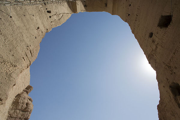 Picture of Bamiyan Buddhas (Afghanistan): Looking up the empty space where the Great Buddha once stood