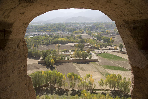 Picture of Bamiyan Buddhas (Afghanistan): View from the Small Buddha niche with Bamiyan and surrounding landscape