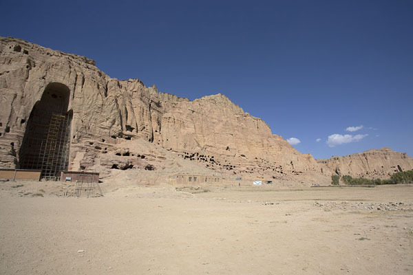 View of the cliffs with the Great Buddha niche on the left | Bamiyan Buddhas | Afghanistan