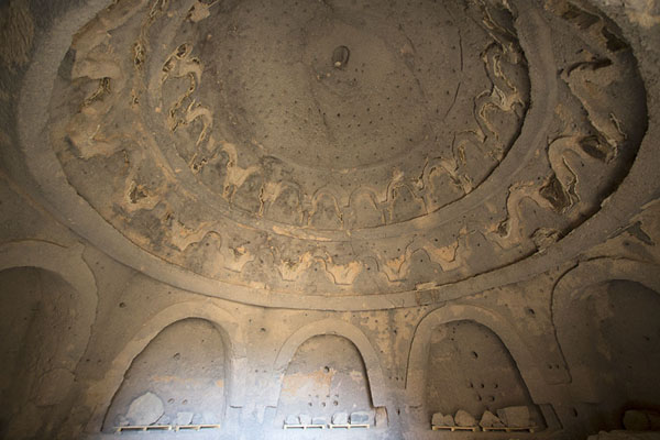 Looking up the ceiling of a circular room at the foot of the Great Buddha | Bamiyan Buddhas | Afghanistan