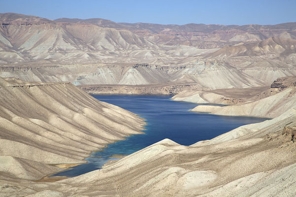 The eastern part of Band-e Zulfiqar in an otherwise desert-like landscape | Band-e Amir | Afghanistan