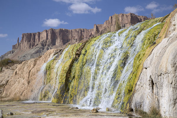 Cascade of Band-e Haibat with mountains in the background | Band-e Amir | Afghanistan