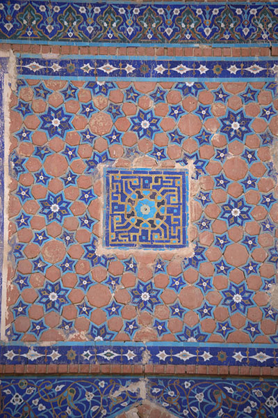 Decorative tilework on the wall of the shrine | Gazar Gah | Afghanistan