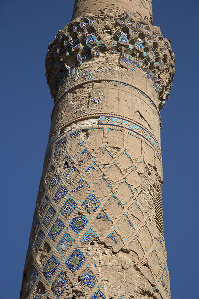Detail of one of the minarets of the Musalla complex | Gowhar Shad Mausoleum | Afghanistan