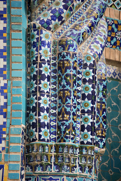 Picture of Colourful tiles seen in close-up on the outside of the Blue Mosque - Afghanistan - Asia