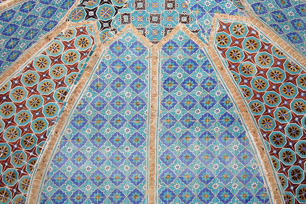 Looking up a decorated dome in the Blue Mosque | Hazrat Ali Shrine | Afghanistan