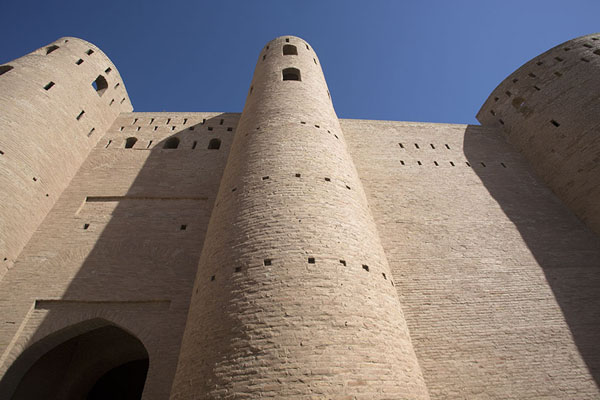 Looking up the impressive walls and towers of the eastern part of the citadel | Herat Citadel | Afghanistan