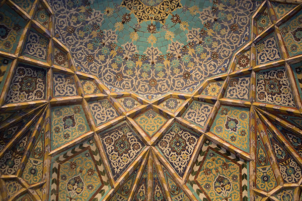 Looking up the decorative elements above the main entrance of the Friday Mosque of Herat | Herat Jama Masjid | Afghanistan