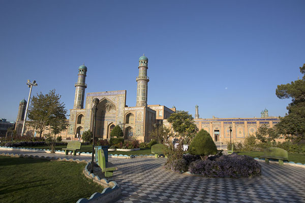 The main entrance with minarets, see from the park of the mosque | Herat Jama Masjid | Afghanistan