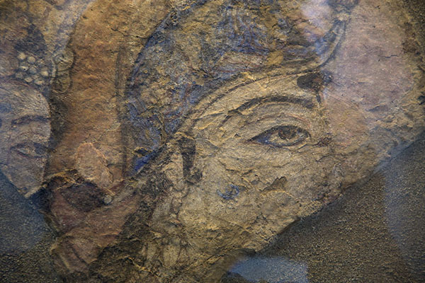 Picture of Kabul Museum (Afghanistan): Fresco with Buddhist image on display in the museum