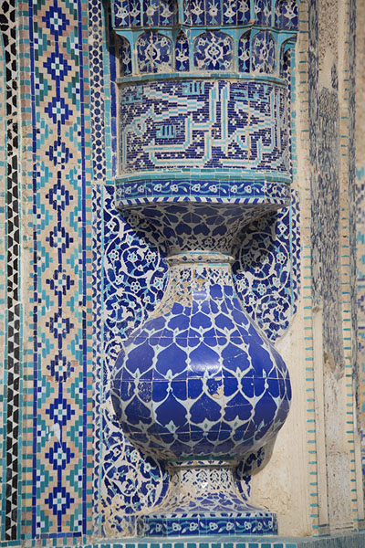 Picture of Old Balkh (Afghanistan): Tiles decorating all details of the Green Mosque in Balkh