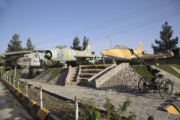 Row of Soviet aircraft used in the war in Afghanistan on display at the mine museum | OMAR mine museum | Afghanistan
