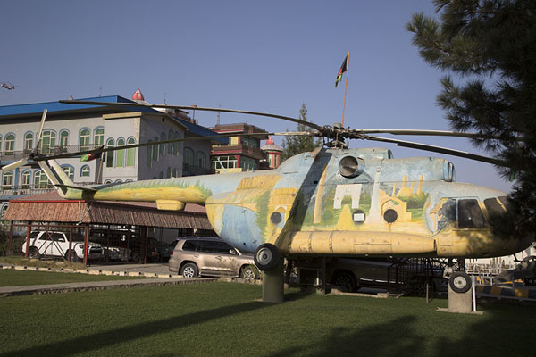 Soviet Mi-8 helicopter, now in use as an internet facility for schoolkids in the exhibition | OMAR mine museum | Afghanistan