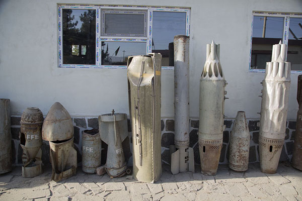 Cluster bombs in the outside exhibition of the mine museum | OMAR mine museum | Afghanistan