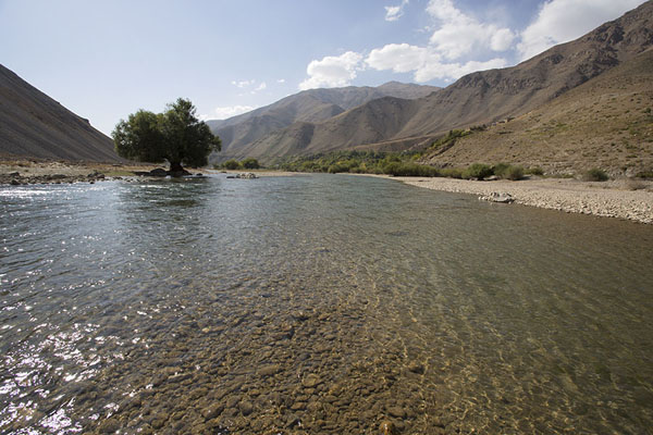 The Panjshir river surrounded by mountains | Valle de Panjshir | Afghanistán
