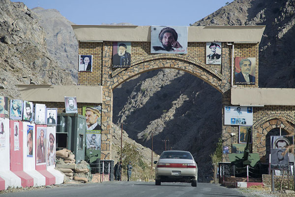 Picture of Gate covered with images of Massoud, entrance to the Panjshir - Afghanistan - Asia