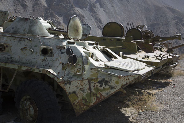 Row of Soviet tanks near the mausoleum of Massoud | Panjshir Valley | Afghanistan