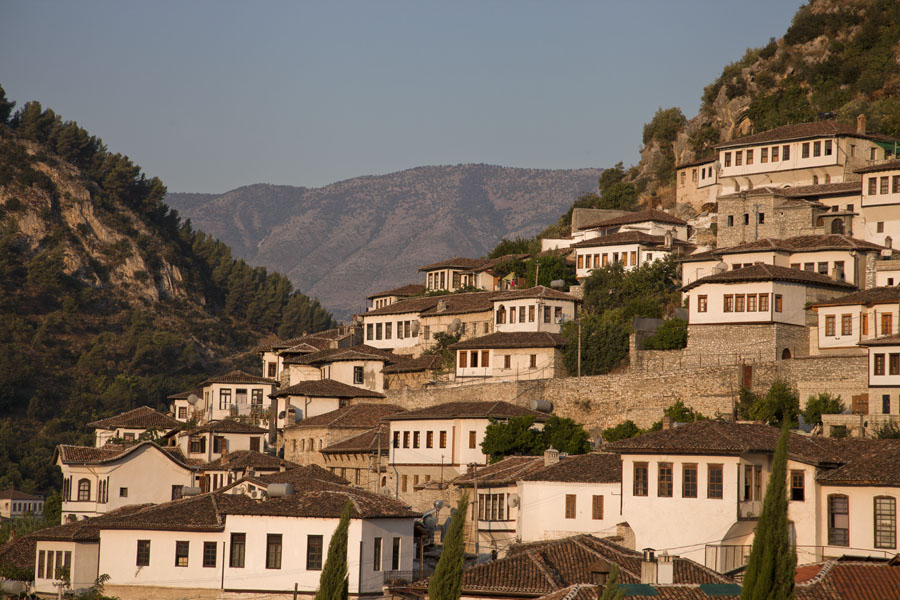 Typical houses of Mangalem on the slopes of the hill in the early morning | Mangalem | Albania