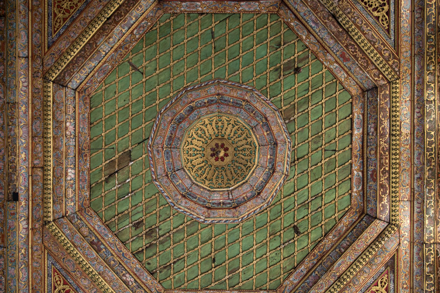 Picture of Mangalem (Albania): Beautifully painted wooden ceiling of the Helveti Teqe