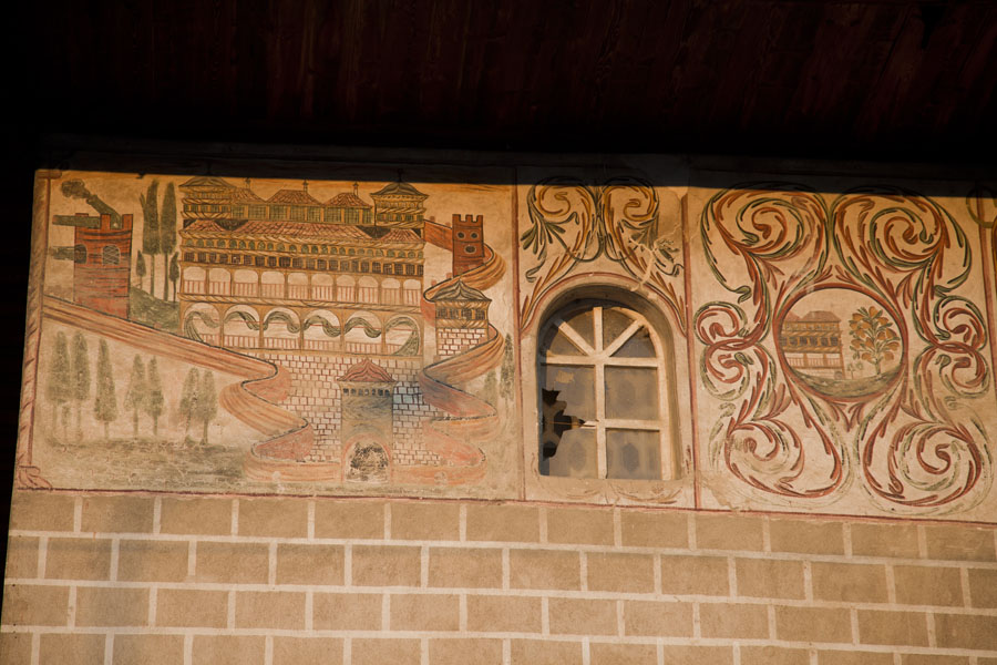 Picture of Mangalem (Albania): Decorations on the exterior wall of the Bachelor's Mosque in Mangalem
