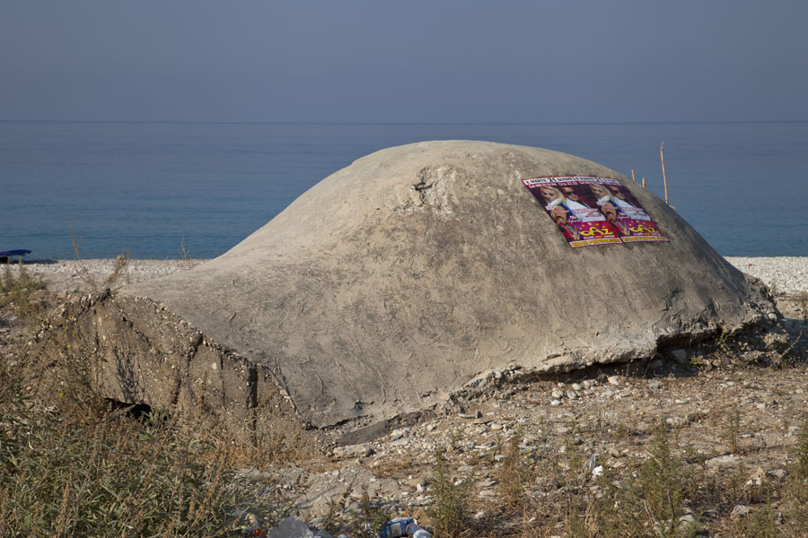 Curiously shaped bunker right on the beach of Borsh | Borsh bunkers | Albania