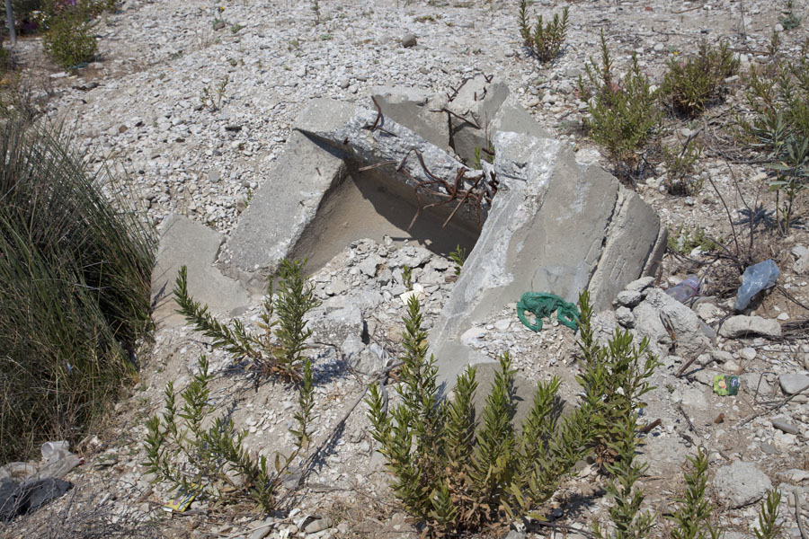 Remains of a dismantled bunker at Borsh beach | Borsh bunkers | Albania