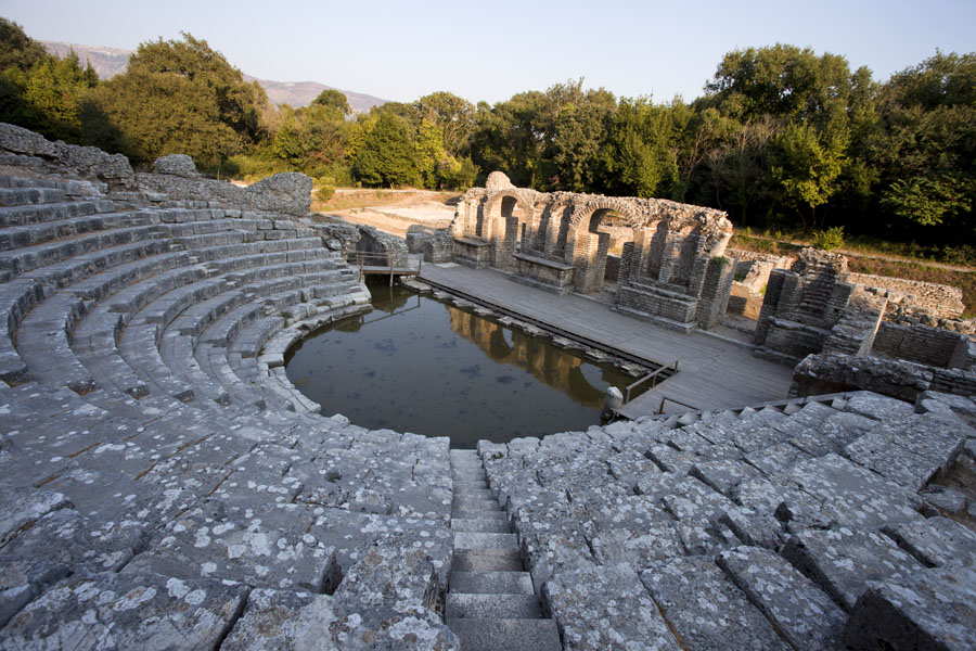 Picture of Looking down the marble amphitheatre, right in the middle of the historic ensemble of Butrint