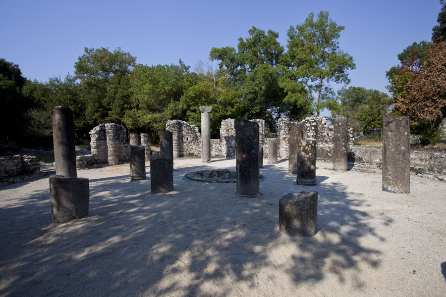 The remains of the baptistery with a mosaic floor hidden under the sand | Butrint | Albania