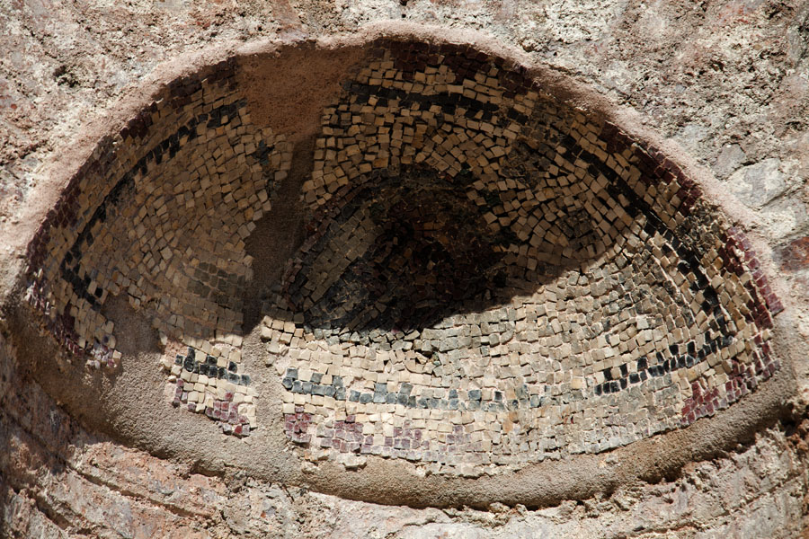 Picture of Butrint (Albania): Mosaics in the niches of the ruins of what once was the gymnasium of Butrint
