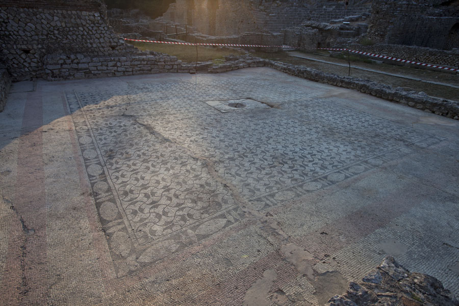 Mosaic floor of what once was the Roman bath house in the heart of the ruins of Butrint | Butrint | Albania