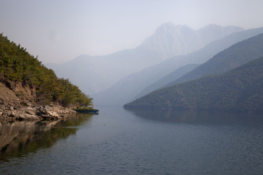 Picture of Transparent waters of Lake Koman reflecting the mountain landscapeKoman - Albania