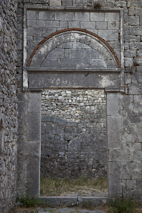 Picture of Stone entrance gate inside the ruins of St Stephens church inside the castle - Albania - Europe