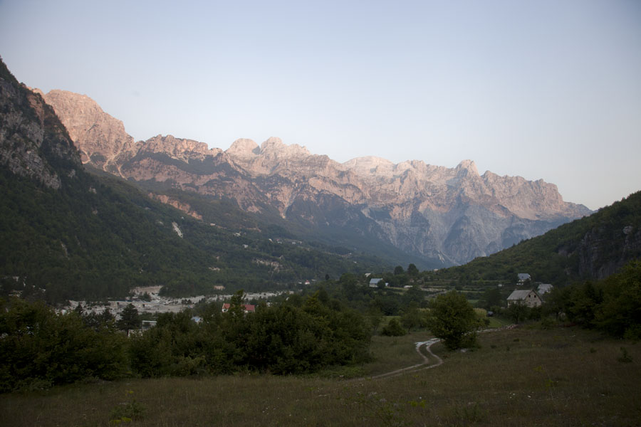 Picture of Theth (Albania): Early morning sunlight falling on the mountain range north of Theth