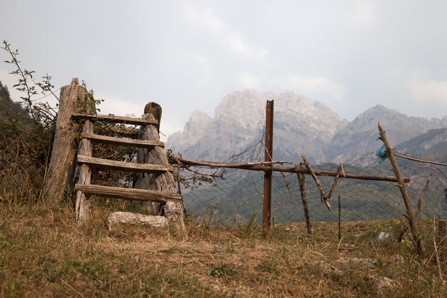 Picture of Theth (Albania): Wooden ladder to pass from one terrain to another