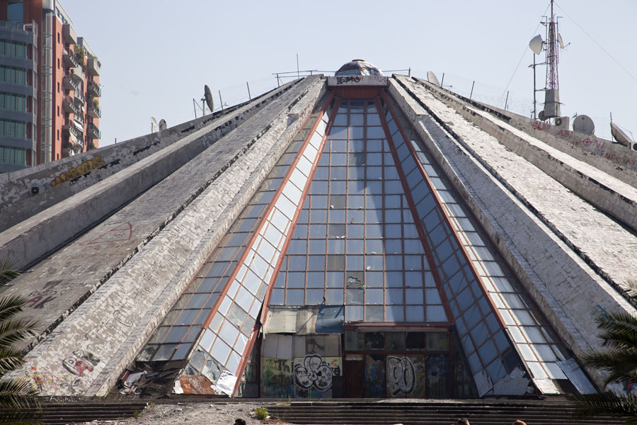 Picture of Frontal view of the pyramid, once the Museum of Enver Hoxha