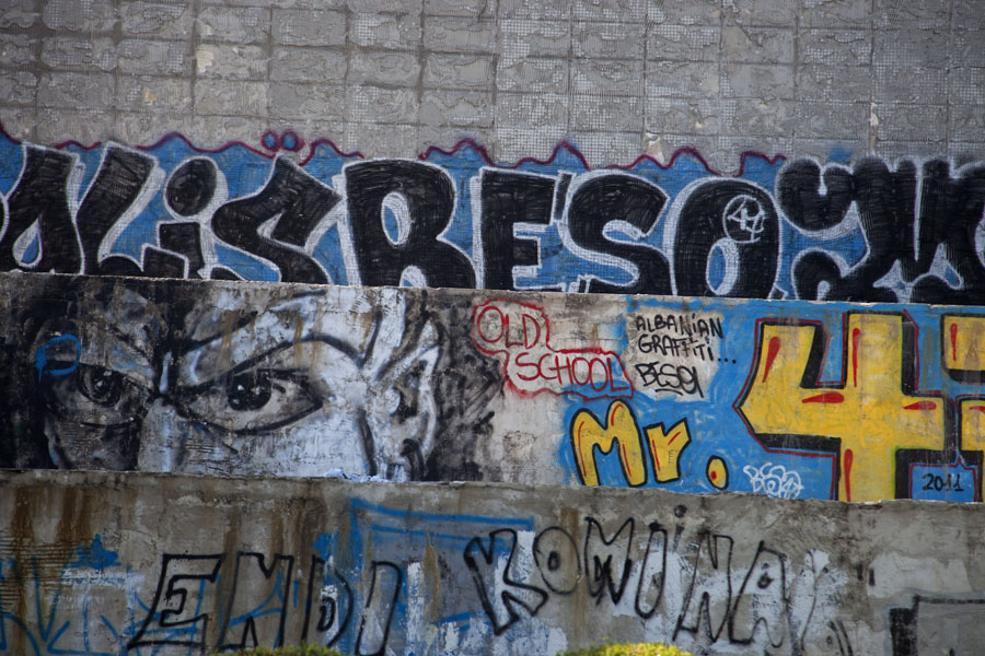 Picture of Graffiti on the pyramid; apparently the main function of the former Museum of Enver Hoxha
