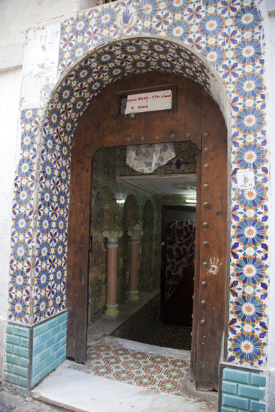 Entrance of a hammam decorated with tiles | Algiers Casbah | Algeria