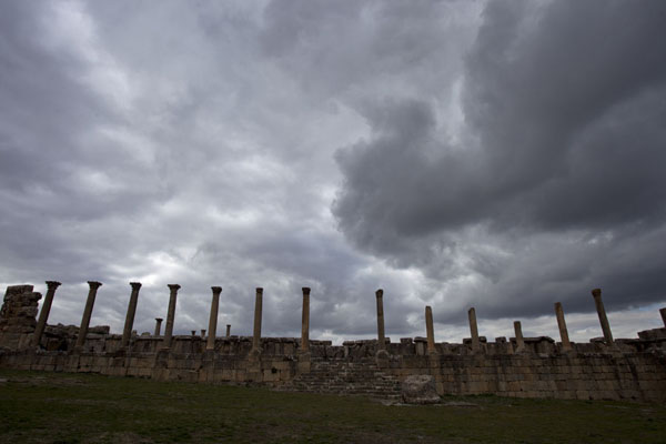 Picture of Dark clouds gathering over the columns on the northern side of Severus Square