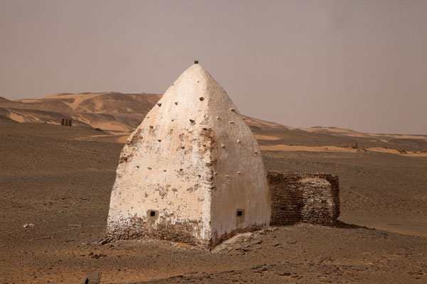 Picture of White painted grave of a marabout in the desert