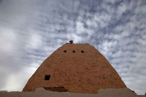 Picture of Timimoun Old Town (Algeria): Looking up the adobe minaret of the Great Mosque of Timimoun