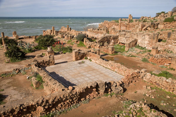 Part of the Villa of Frescoes, with a large mosaic still on the ground | Tipaza | Algeria