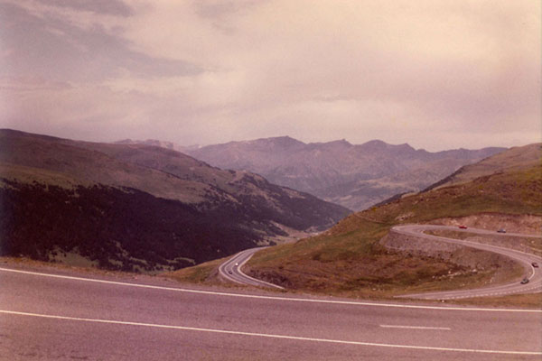 Picture of Mountain road near the top of Envalira in 1983