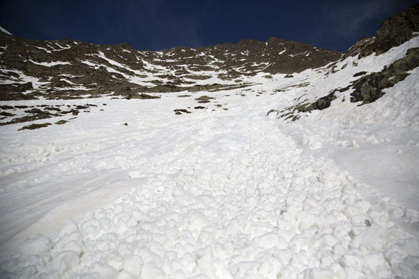 Picture of Pla de l'Estany (Andorra): Looking up a trace of avalanche above Pla de l'Estany