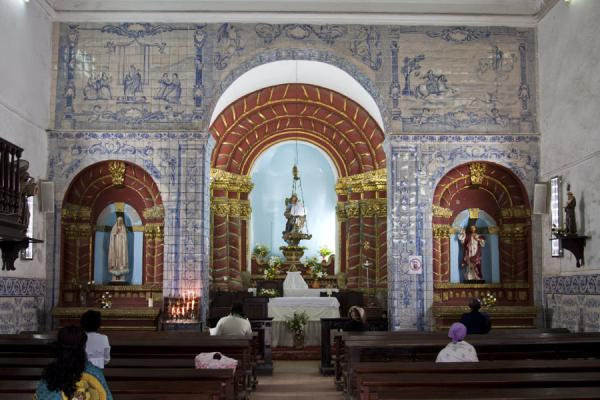 Foto di Interior view of the Church of Our Lady of Nazareth with original Portuguese azuleijosBaixa Luanda - Angola