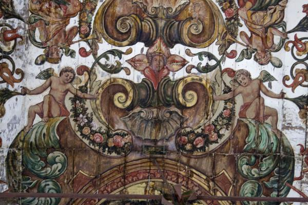 Close-up of painted ceiling of the Church of Our Lady of Carmel | Baixa Luanda | Angola