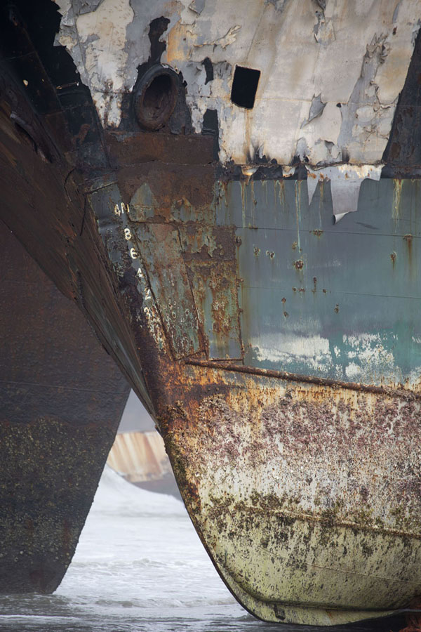 Detailed view of a two bows od shipwrecks | Scheepswrakken strand | Angola