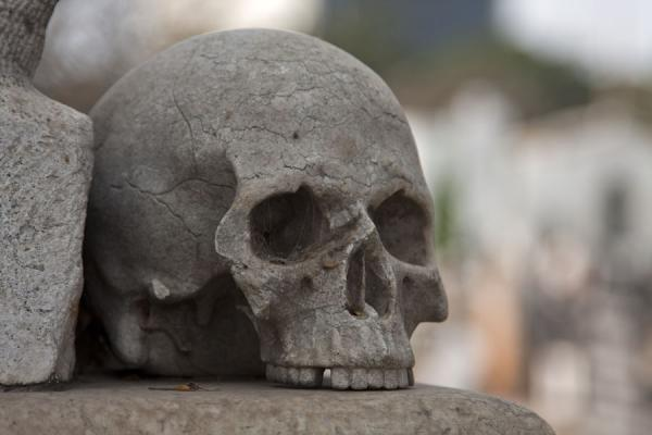 Picture of Alto das Cruzes cemetery (Angola): Detail of a tomb with a skull
