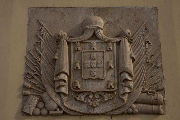 Coat of arms on outer wall of the Fortaleza de São Miguel | Fortaleza de São Miguel | Angola